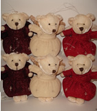 Sparkle Velvet Angel Bear - Burgundy