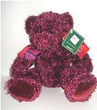 """Poppy"", burgundy sparkle bear"